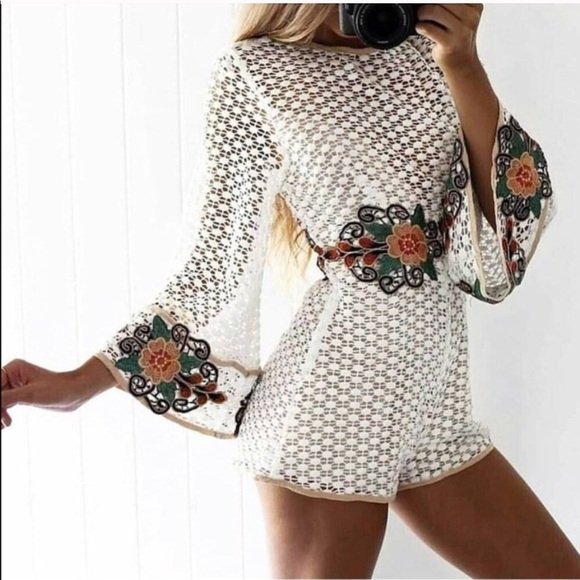 01607d481518 Floral Embroidered Crochet Lace Bell Sleeve Romper